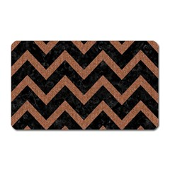 Chevron9 Black Marble & Brown Denim (r) Magnet (rectangular) by trendistuff