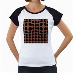 Circles1 Black Marble & Brown Denim Women s Cap Sleeve T by trendistuff