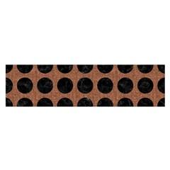 Circles1 Black Marble & Brown Denim Satin Scarf (oblong) by trendistuff