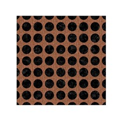 Circles1 Black Marble & Brown Denim Small Satin Scarf (square) by trendistuff