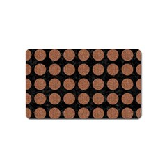 Circles1 Black Marble & Brown Denim (r) Magnet (name Card) by trendistuff