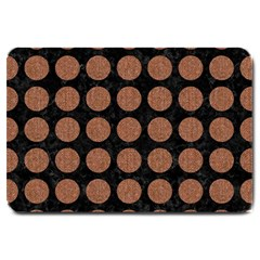 Circles1 Black Marble & Brown Denim (r) Large Doormat  by trendistuff