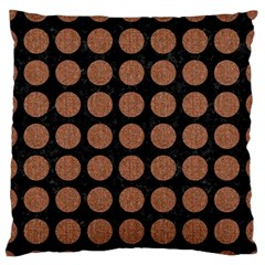 Circles1 Black Marble & Brown Denim (r) Large Flano Cushion Case (two Sides) by trendistuff