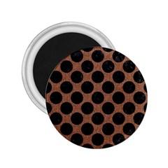 Circles2 Black Marble & Brown Denim 2 25  Magnets by trendistuff
