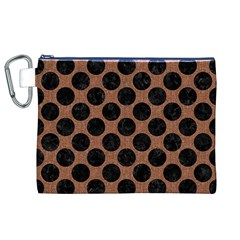 Circles2 Black Marble & Brown Denim Canvas Cosmetic Bag (xl) by trendistuff