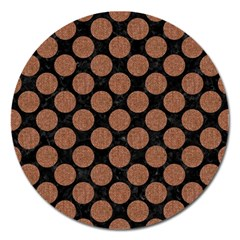 Circles2 Black Marble & Brown Denim (r) Magnet 5  (round) by trendistuff