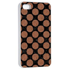 Circles2 Black Marble & Brown Denim (r) Apple Iphone 4/4s Seamless Case (white) by trendistuff