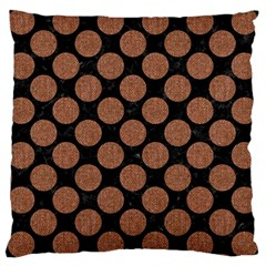 Circles2 Black Marble & Brown Denim (r) Large Cushion Case (two Sides) by trendistuff