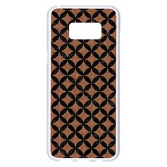 Circles3 Black Marble & Brown Denim Samsung Galaxy S8 Plus White Seamless Case