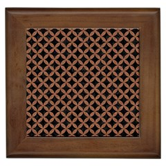 Circles3 Black Marble & Brown Denim (r) Framed Tiles by trendistuff
