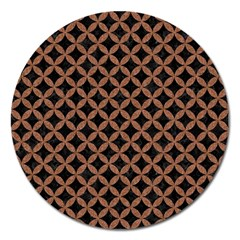 Circles3 Black Marble & Brown Denim (r) Magnet 5  (round) by trendistuff