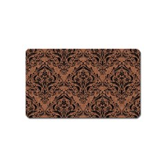 Damask1 Black Marble & Brown Denim Magnet (name Card) by trendistuff