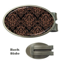 Damask1 Black Marble & Brown Denim (r) Money Clips (oval)  by trendistuff