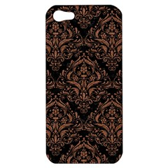 Damask1 Black Marble & Brown Denim (r) Apple Iphone 5 Hardshell Case by trendistuff