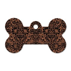 Damask2 Black Marble & Brown Denim Dog Tag Bone (two Sides) by trendistuff