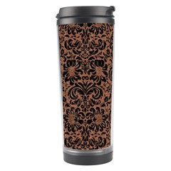 Damask2 Black Marble & Brown Denim Travel Tumbler by trendistuff