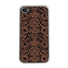 Damask2 Black Marble & Brown Denim (r) Apple Iphone 4 Case (clear) by trendistuff