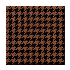 Houndstooth1 Black Marble & Brown Denim Tile Coasters by trendistuff
