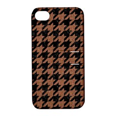 Houndstooth1 Black Marble & Brown Denim Apple Iphone 4/4s Hardshell Case With Stand by trendistuff