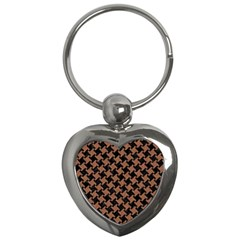 Houndstooth2 Black Marble & Brown Denim Key Chains (heart)  by trendistuff