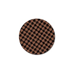 Houndstooth2 Black Marble & Brown Denim Golf Ball Marker (4 Pack) by trendistuff