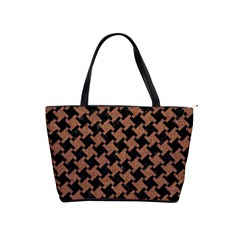Houndstooth2 Black Marble & Brown Denim Shoulder Handbags by trendistuff