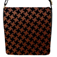 Houndstooth2 Black Marble & Brown Denim Flap Messenger Bag (s) by trendistuff