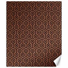 Hexagon1 Black Marble & Brown Denim Canvas 8  X 10  by trendistuff