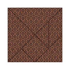 Hexagon1 Black Marble & Brown Denim Acrylic Tangram Puzzle (6  X 6 ) by trendistuff