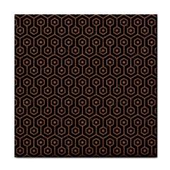 Hexagon1 Black Marble & Brown Denim (r) Tile Coasters by trendistuff