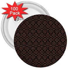 Hexagon1 Black Marble & Brown Denim (r) 3  Buttons (100 Pack)  by trendistuff