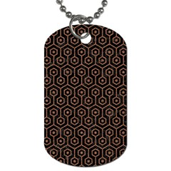 Hexagon1 Black Marble & Brown Denim (r) Dog Tag (one Side) by trendistuff