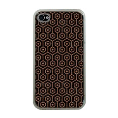 Hexagon1 Black Marble & Brown Denim (r) Apple Iphone 4 Case (clear) by trendistuff