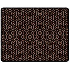 Hexagon1 Black Marble & Brown Denim (r) Double Sided Fleece Blanket (medium)  by trendistuff