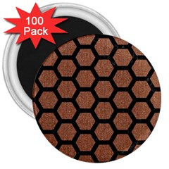 Hexagon2 Black Marble & Brown Denim 3  Magnets (100 Pack) by trendistuff