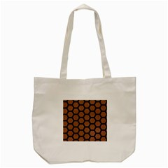 Hexagon2 Black Marble & Brown Denim Tote Bag (cream) by trendistuff