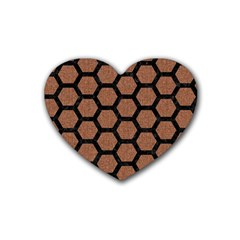 Hexagon2 Black Marble & Brown Denim Heart Coaster (4 Pack)  by trendistuff