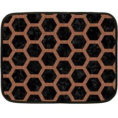 Hexagon2 Black Marble & Brown Denim (r) Fleece Blanket (mini) by trendistuff
