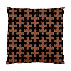 Puzzle1 Black Marble & Brown Denim Standard Cushion Case (two Sides) by trendistuff