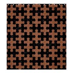 Puzzle1 Black Marble & Brown Denim Shower Curtain 66  X 72  (large)  by trendistuff