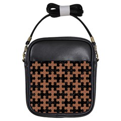 Puzzle1 Black Marble & Brown Denim Girls Sling Bags by trendistuff