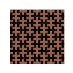 Puzzle1 Black Marble & Brown Denim Small Satin Scarf (square) by trendistuff