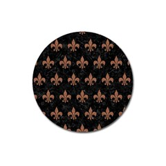 Royal1 Black Marble & Brown Denim Magnet 3  (round) by trendistuff