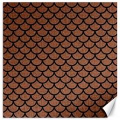 Scales1 Black Marble & Brown Denim Canvas 16  X 16   by trendistuff