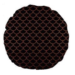 Scales1 Black Marble & Brown Denim (r) Large 18  Premium Flano Round Cushions by trendistuff