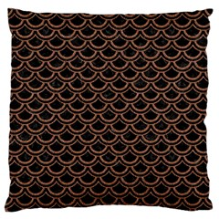Scales2 Black Marble & Brown Denim (r) Large Flano Cushion Case (two Sides) by trendistuff