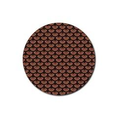Scales3 Black Marble & Brown Denim Rubber Coaster (round)  by trendistuff