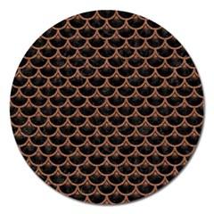Scales3 Black Marble & Brown Denim (r) Magnet 5  (round) by trendistuff
