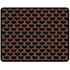 Scales3 Black Marble & Brown Denim (r) Fleece Blanket (medium)  by trendistuff