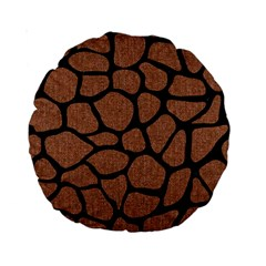 Skin1 Black Marble & Brown Denim (r) Standard 15  Premium Round Cushions by trendistuff